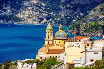Praiano town on Amalfi coast, Italy