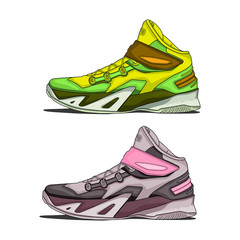 Cartoon shoe with details. Amazing for t-shirt printing. Vector