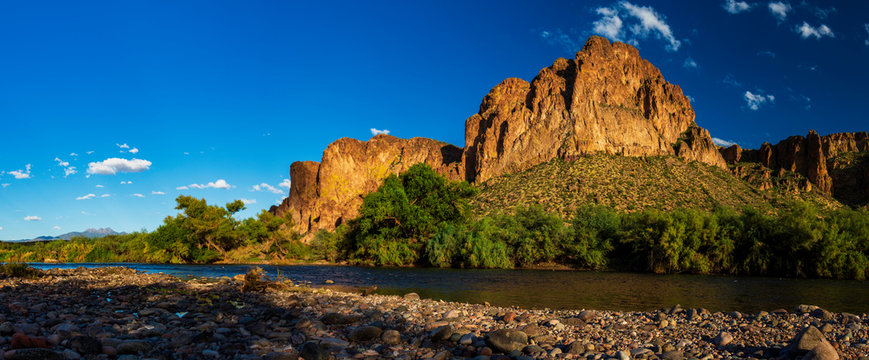 Salt River, Arizona Wide Angle with Four Peaks in distance