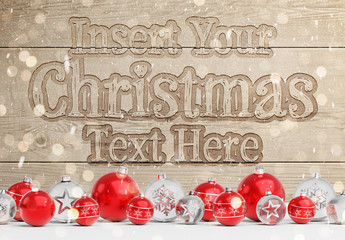 Christmas Wooden Text Effect Mockup with Ornaments
