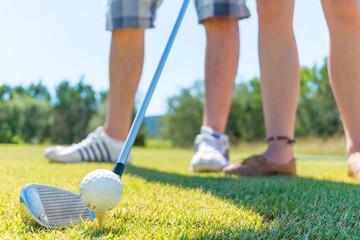 USA, Texas, Two people golfing