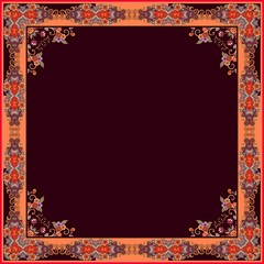 Decorative frame in vintage style and space for text. Bandana print, handkerchief, tablecloth.