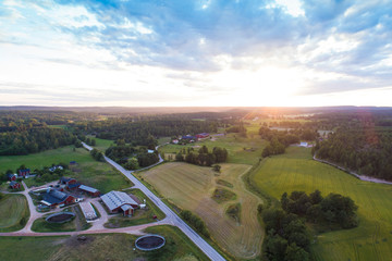 Aerial view of fields and road before sunset in summer, Vaestervik, Sweden
