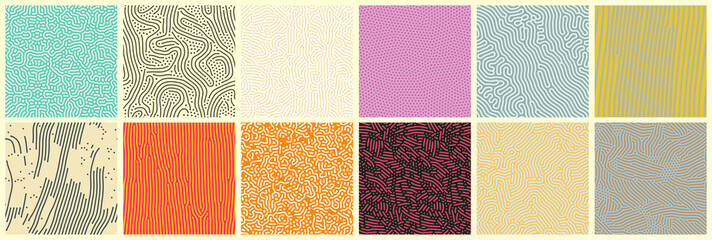 Door stickers Pattern Abstract lines seamless patterns, vector modern trnedy backgrounds set. Organic patterns with color memphis dots and irregular doodle lines, squiggle texture creative design