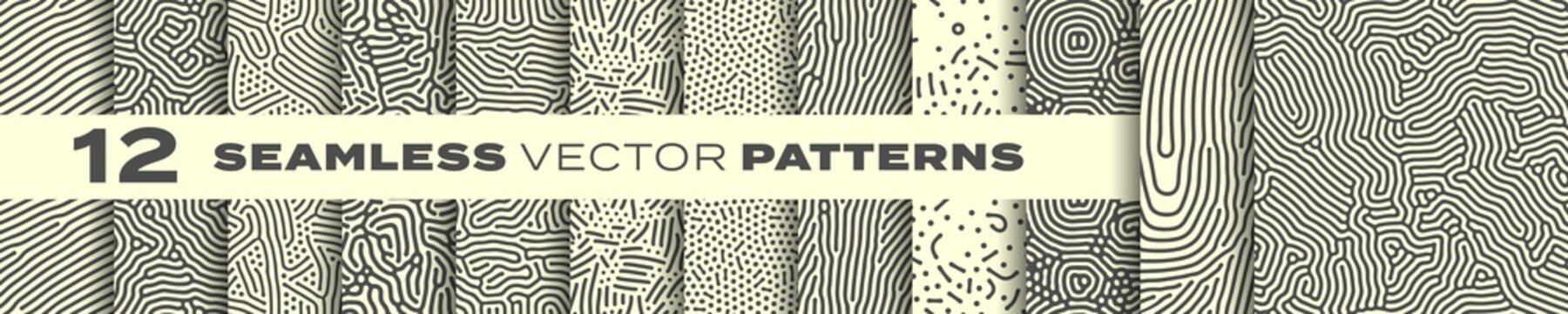 Abstract organic lines seamless patterns vector backgrounds set. Modern trendy creative memphis and biological patterns with dots and irregular squiggle lines texture design