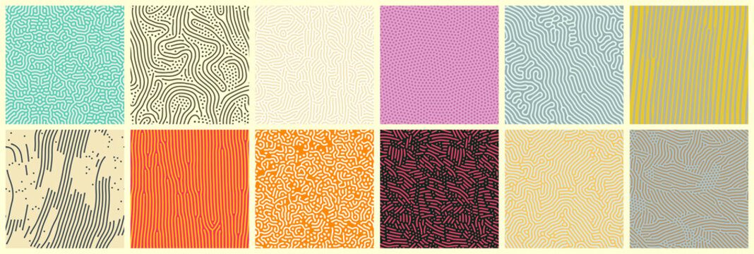 Abstract lines seamless patterns, vector modern trnedy backgrounds set. Organic patterns with color memphis dots and irregular doodle lines, squiggle texture creative design