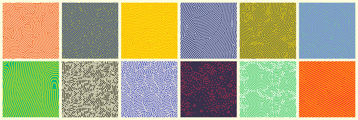 Seamless patterns, abstract organic lines color backgrounds set. Biological patterns with yellow, purple and blue memphis dots, irregular squiggle lines and abstract shape texture Fototapete