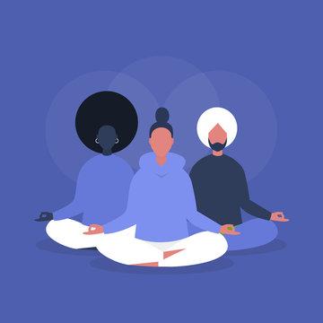 Yoga class. Mindfulness. Meditation. Group workout. Modern life of millennials. Flat editable vector illustration, clip art