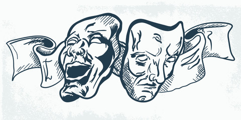 Hand Drawn Ancient Traditional Greek Comedy and Tragedy Masks Costume Isolated. Freehand Outline ink hand drawn Concept Retro Picture. - Vector