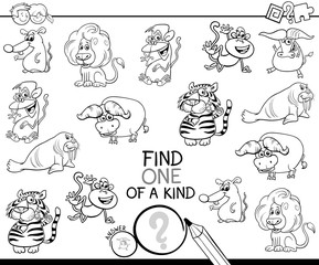one of a kind game with wild animals color book