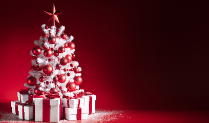 Wall Mural - Decorated Christmas tree and gifts