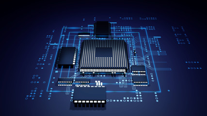 3d rendering  of futuristic blue circuit board and cpu