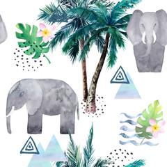 Abstrakcjonistyczny tropikalny wzór z słoniem, drzewka palmowe. Akwarela bez szwu wydruku. Ilustracja minimalizmu - 293496138