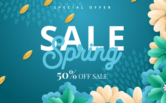 Spring banner with paper flowers for online shopping, advertising actions, magazines and websites. Vector illustration
