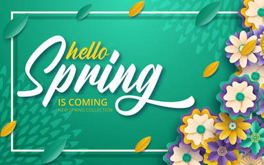 Spring sale banner template with paper cut frame. Paper cut style, vector illustration