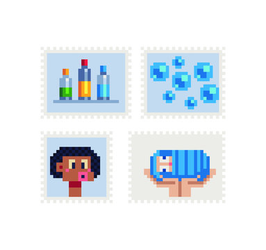 Vintage postmark template pixel art icon, paints, bubbles, baby in hands, abstract face. Design for logo, sticker and mobile app. Isolated vector illustration.