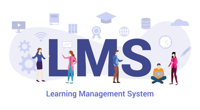 lms learning management system concept with big word or text and team people with modern flat style - vector