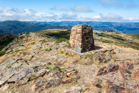 Stone distance dial at the summit of Mt Buller in Victoria, Australia.