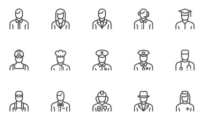 Professions vector line icons set. Human characters, avatars. Cook, doctor, policeman, nurse, fireman, worker. Editable stroke. 48x48 Pixel Perfect.