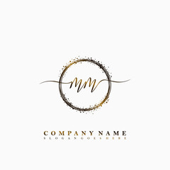 MM Initial luxury handwriting logo vector