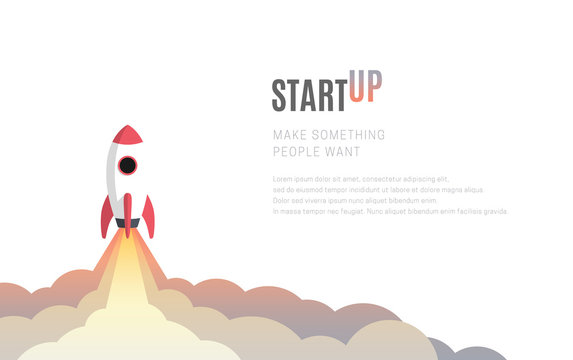 Flat design business startup launch concept, rocket icon. Vector illustration.