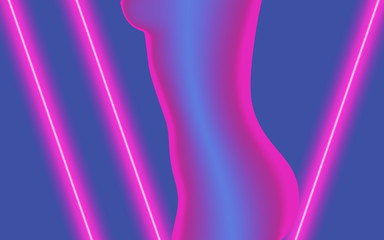 woman curve in violet neon light