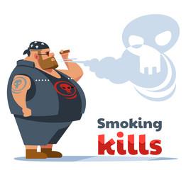 Smoking Kills Poster. Fat biker smokes. Health care, Stop Smoking concept. Vector flat cartoon illustration