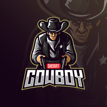 cowboy mascot logo design vector with modern illustration concept style for badge, emblem and tshirt printing. angry coboy illustration with gun in hand.