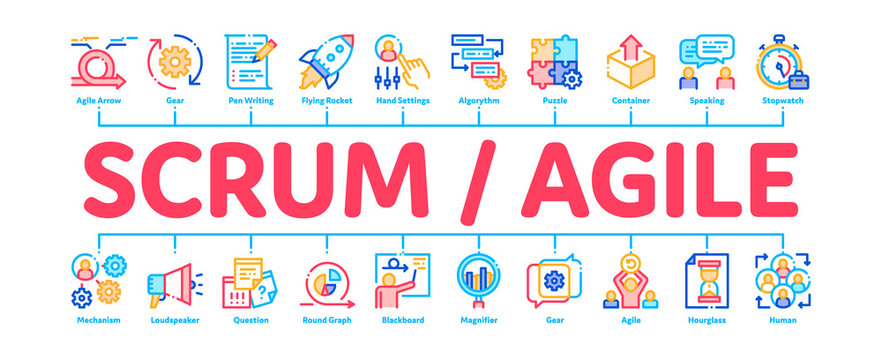 Scrum Agile Minimal Infographic Web Banner Vector. Agile Rocket And Document File, Gear And Package, Loud-speaker And Stop Watch Concept Linear Pictograms. Contour Illustrations