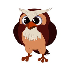 Angry and Confused Owl - Cartoon Vector Image