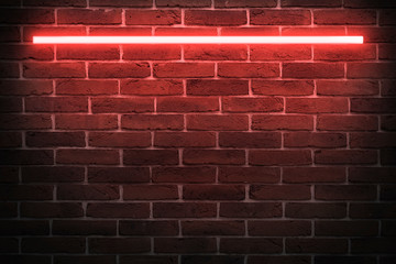 Background texture of empty red brick wall with red neon light lamp, 80s style glow