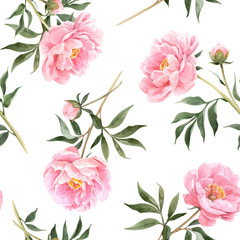 Watercolor peony seamless vector pattern