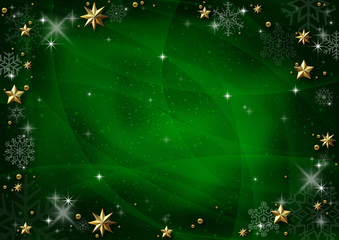 Green Christmas Background with Golden Stars and Shadows and Green Snowflakes - Graphic Design for Xmas Greetings and etc., Vector
