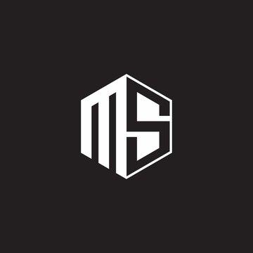 MS Logo monogram hexagon with black background negative space style