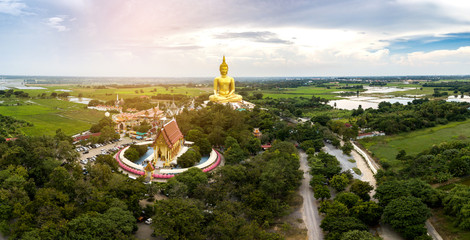 Panorama Top view Aerial photo from flying drone.Aerial Photo Wat Muang Ang Thong Thailand.
