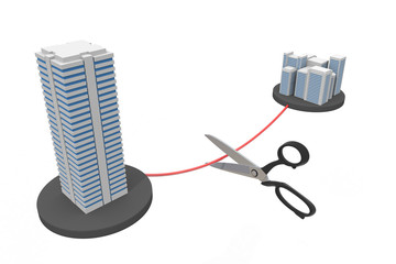 Cut a subsidiary Contract cancellation 3D illustration