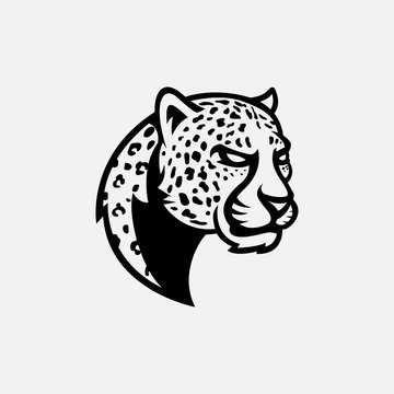 Leopard head logo gaming esport in black and white