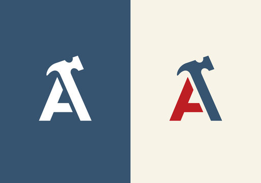 Initial letter A and hammer symbol, vector logo illustration design