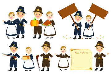 Thanksgiving Pilgrims couple cartoon character vector set. Thanksgiving holiday pilgrim character and elements set