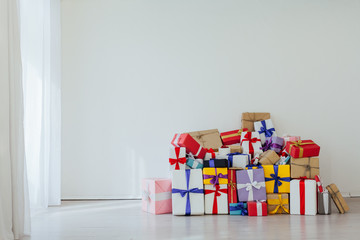 lots of different birthday gifts New Year Christmas on a white background