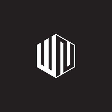 WN Logo monogram hexagon with black background negative space style
