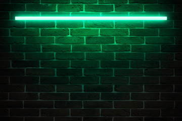 Background texture of empty red brick wall with turquoise neon lamp cyan light, 80s style glow