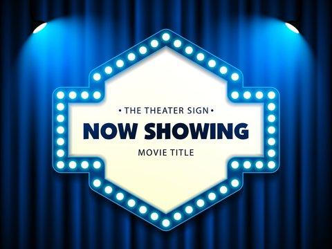 Cinema Theater Retro Sign on curtain with spotlight. Vector Illustration