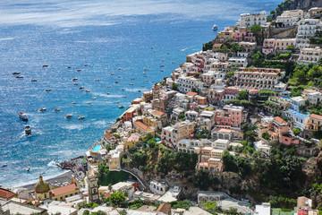 View from above of Positano on the italian Amalfi coast