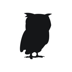 black silhouette of a owl on white background vector