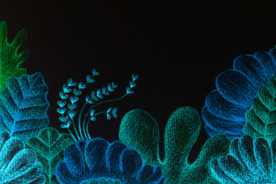 Imaginary underwater world or blue reflective algae. under the sea.Hand drawing with color pencil.