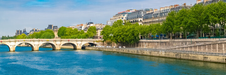 Paris, view of the Pont-Neuf and the ile de la Cité, with houseboats and beautiful facades