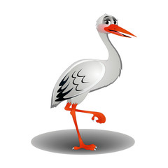 Sad Stork - Cartoon Vector Image