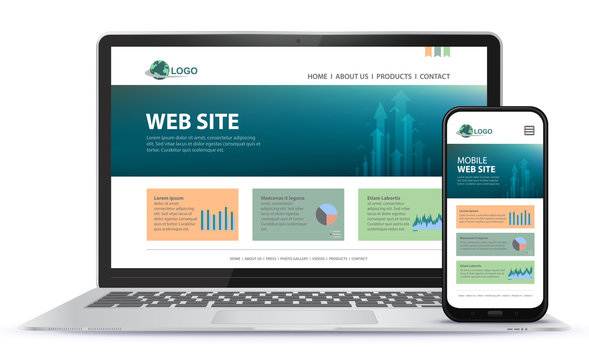 Responsive Website Design With Laptop Computer and Mobile Phone Screen Vector Illustration.