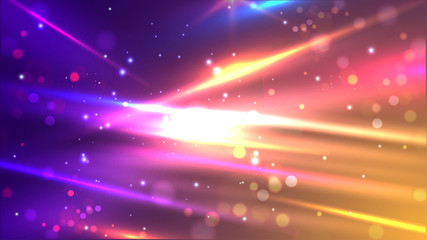 Shiny colourful speed lines on abstract bokeh motion background for futuristic technology concept. Wall mural